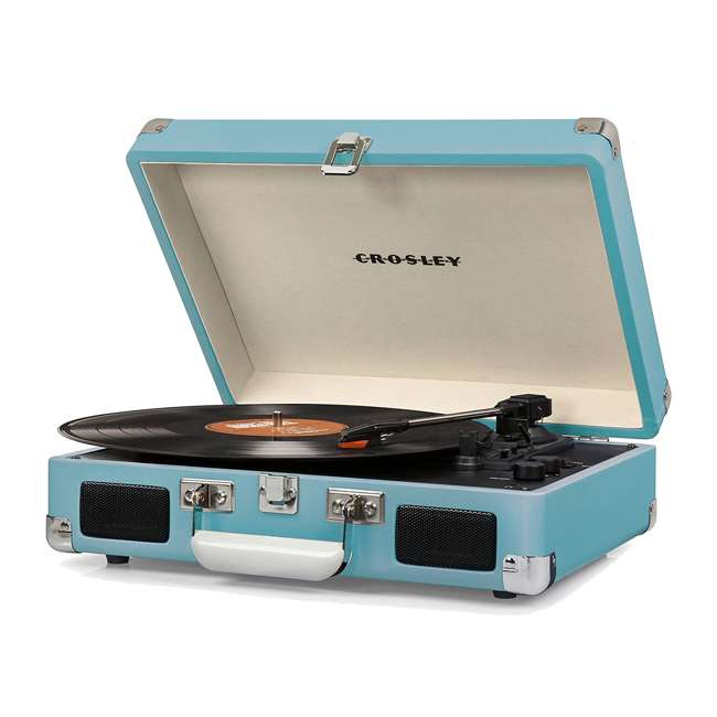 CR8005D-TU Crosley Cruiser Deluxe Portable Bluetooth Turntable, Turquoise