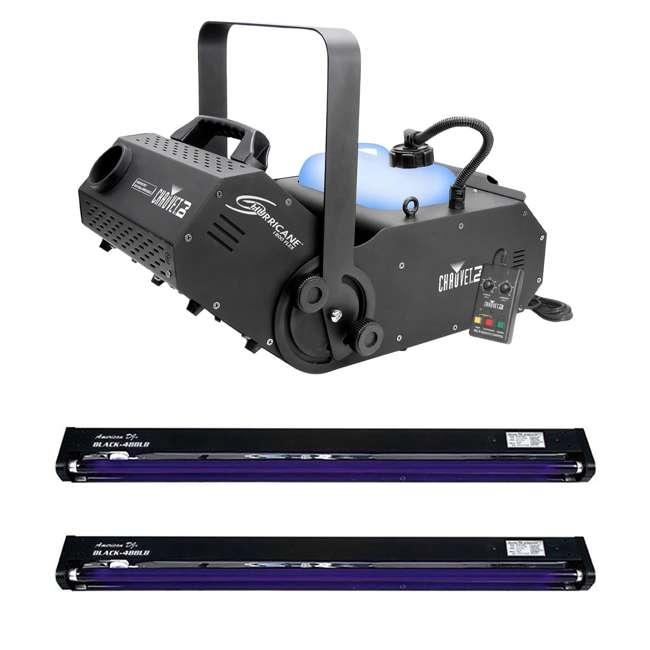 H1800FLEX + 2 x BLACK-48BLB Chauvet DJ Hurricane Fog Machine with Remote & American DJ Blacklight (2 Pack)