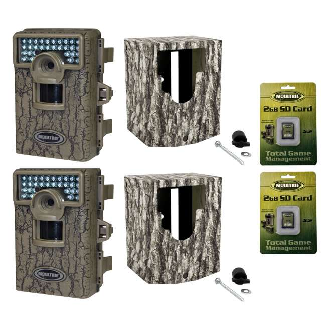 DGS-M80XD + 2 x MCA-12605 + 2 x SD2GB MOULTRIE M80XD Mini Infrared Digital Trail Cameras (2) + Security Boxes (2) + 2GB SD Cards (2)