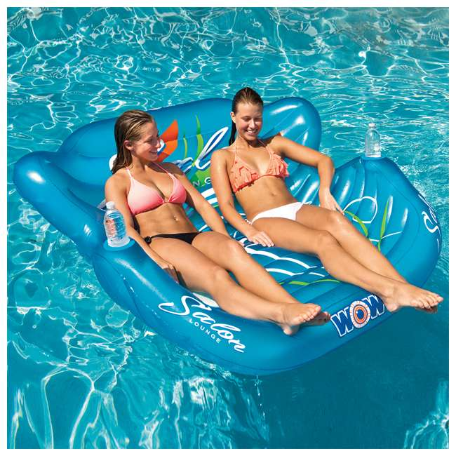 14-2060 WOW Watersports 14-2060 Double Salon Float Reclining Lounge for 2 Person, Blue 6