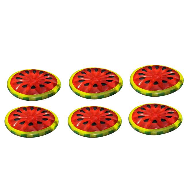 6 x 90544 Swimline Inflatable Watermelon Slice Island Raft (6 Pack)