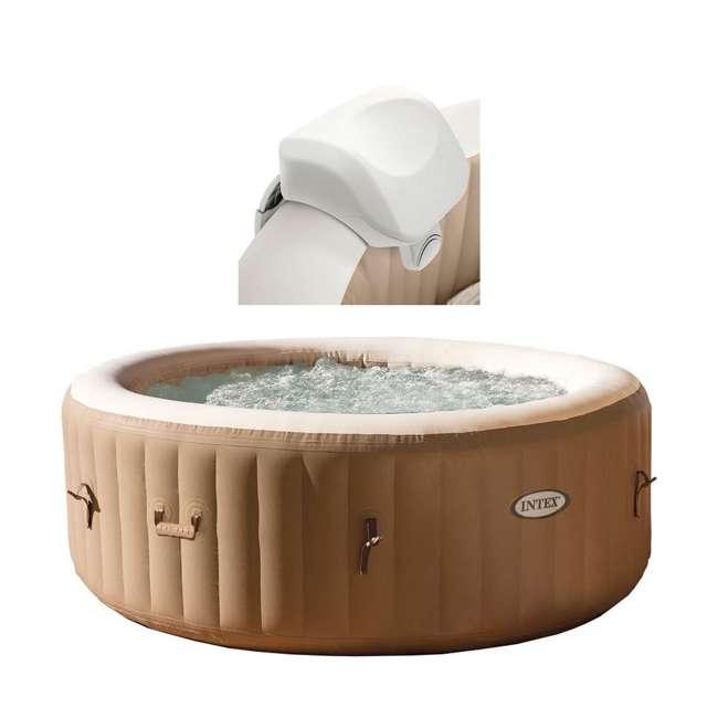 28505E + 28403E Intex 28403E Pure Spa 4-Person Inflatable Heated Hot Tub With Soft Foam Headrest