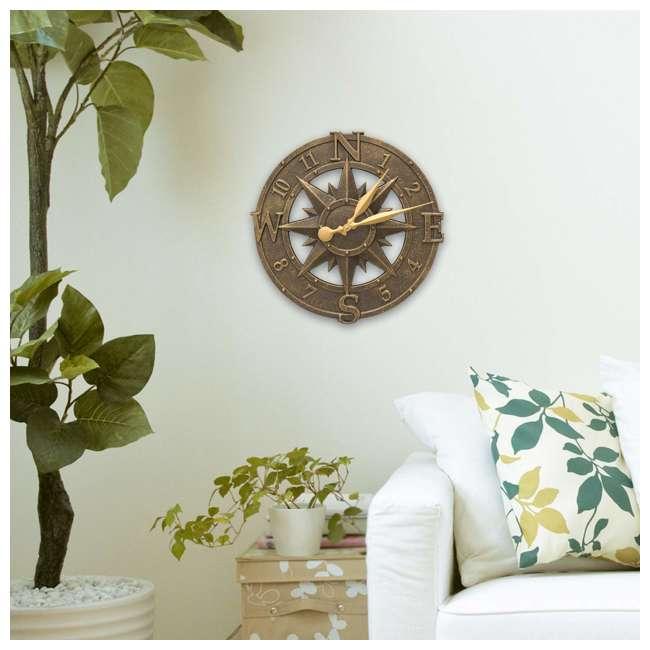 1173 Whitehall 1173 Indoor Outdoor Aluminum Alloy Nautical Compass Clock, Bronze 2