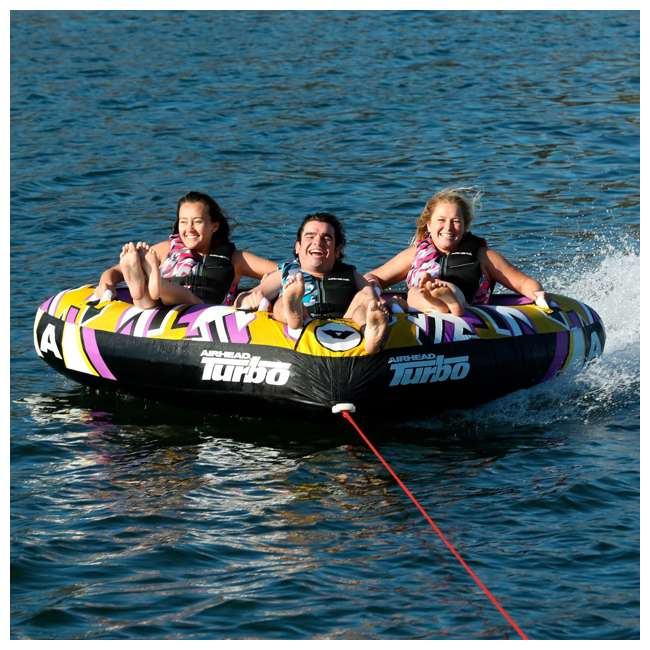 "AHTB-13 Airhead Turbo Blast 3 Person 81"" x 107"" Inflatable Boat Towable Water Inner Tube 4"