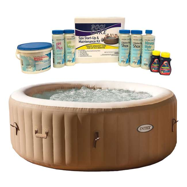 28403E + QLC-14895 Intex PureSpa 4-Person Inflatable Spa & 6 Month Chemical Kit