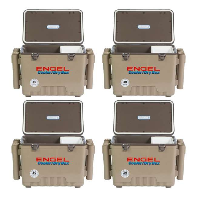 4 x UC30T-RH Engel Coolers 30-Quart Insulated Cooler Drybox with 4 Rod Holders (4 Pack)