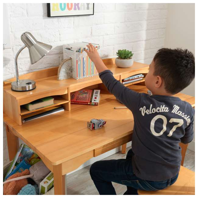 26707 KidKraft Avalon Wooden Kids Room Study Desk with Hutch & Chair Set, Natural 7