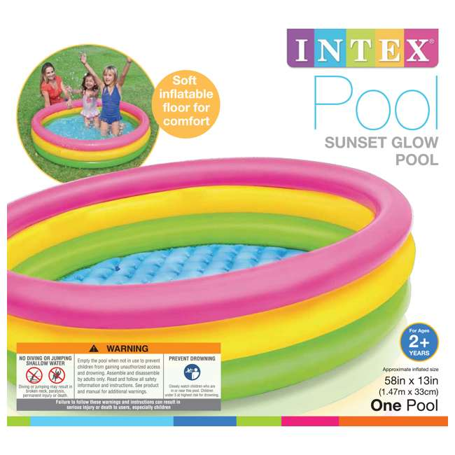 57422EP Intex Inflatable Sunset Glow Colorful Backyard Kids Play Pool 57422EP (Open Box) 5