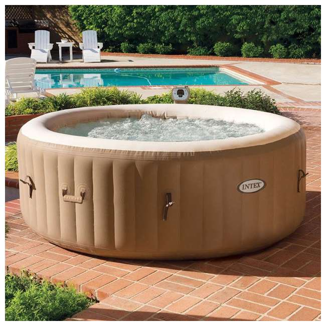 28403E + 28503E Intex PureSpa 4-Person Inflatable Bubble Jet Spa Portable Hot Tub & LED Light  4