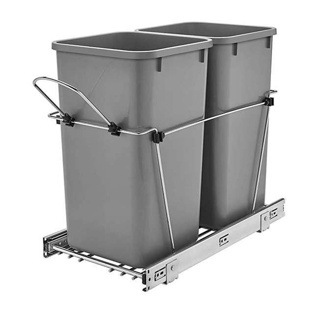 RV-15KD-17C S-30 Rev A Shelf Double 27 Qt Sliding Pull Out Waste Bin Container (2 Pack) 1