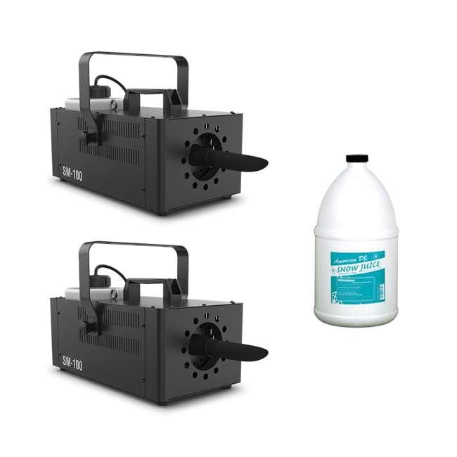 SM-100 + SNOW-GAL Chauvet DJ Snow Machine (2 Pack) & 1 Gallon Snow Juice