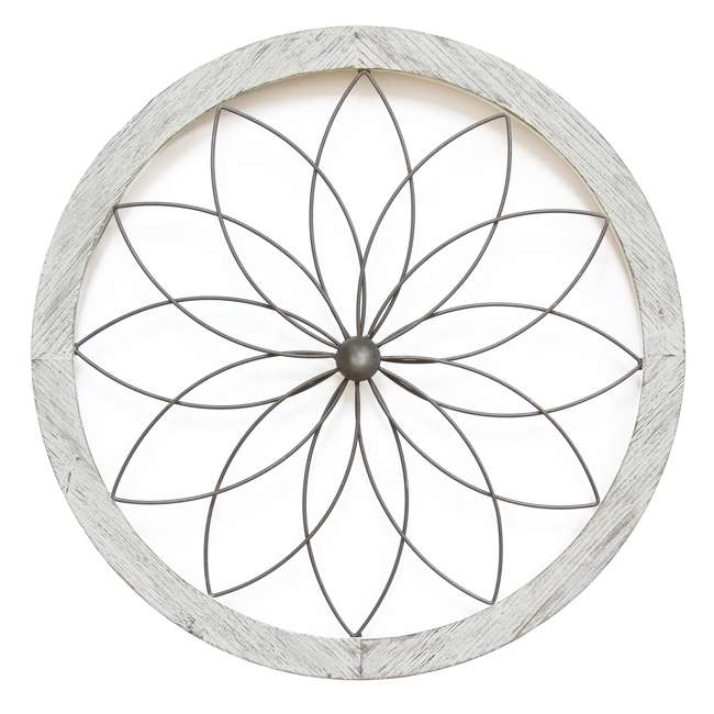 S09601 Stratton Home Decor Metal and Wood Art Deco Flower Wall Decor, Distressed White