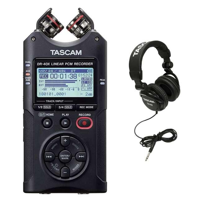 DR-40X + TH02-B Tascam 4-Track Dual Recording Mode Digital Audio Recorder + Studio Headphones