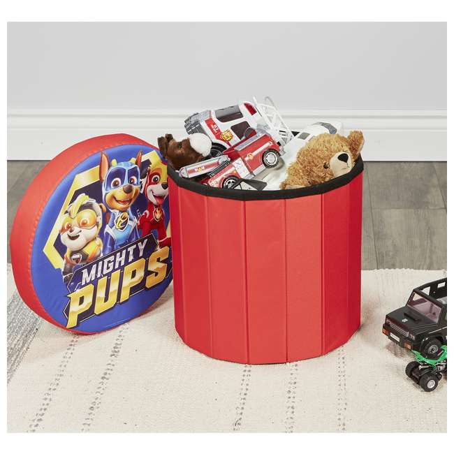 520122-005 Fresh Home Elements 15-Inch Round Portable Toy Chest and Ottoman, Paw Patrol 5