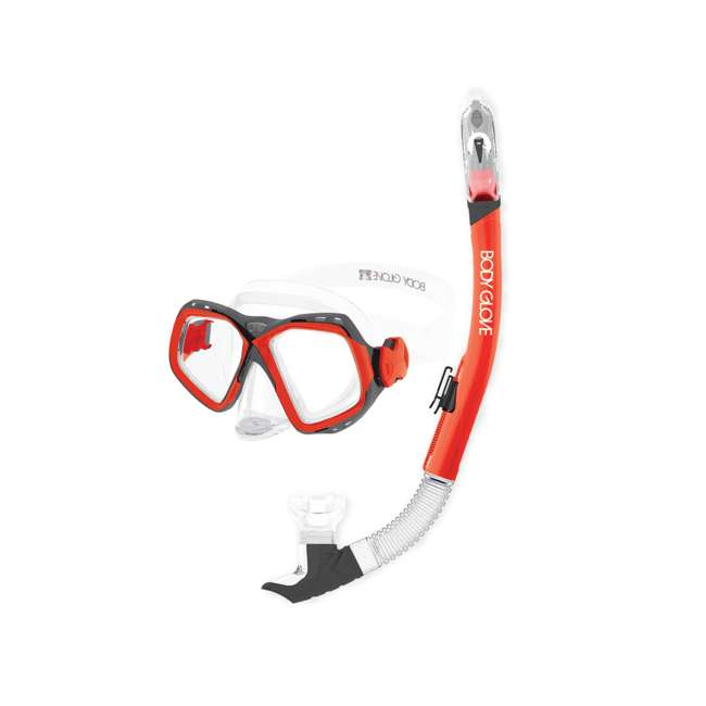 17039PCMB-M-REDGRY LNK1 - Body Glove Medium Combo Fiji Mask and Snorkel Set, Red/Gray