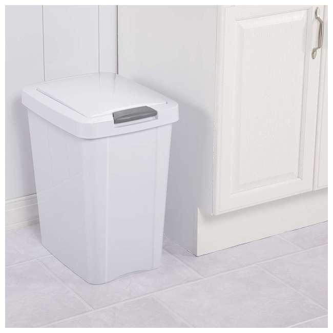 4 x 10438004 Sterilite 7.5 Gallon TouchTop Wastebasket with Titanium Latch, White (4 Pack) 3