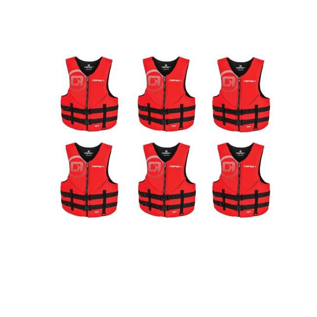 6 x 2181838-MW OBrien Biolite Series Men's Life Vest Size XXL, Red (6 Pack)