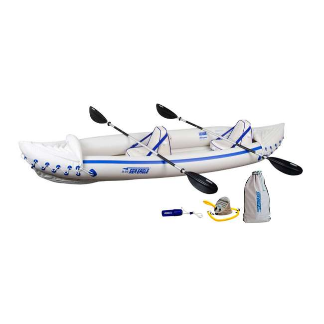 SE370K-PRO Sea Eagle 370 Pro 3 Person Inflatable Portable Sport Kayak Canoe Boat w/ Paddles