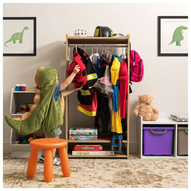 596285 IRIS 2 Shelf Compact Wood Garment Hanging Closet Clothing Clothes Rack, Brown 2