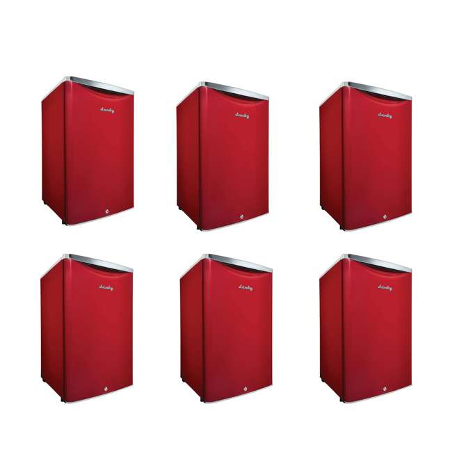 6 x DAR044A6LDB Danby 4.4 Cubic Feet Compact Sized Refrigerator, Red (6 Pack)