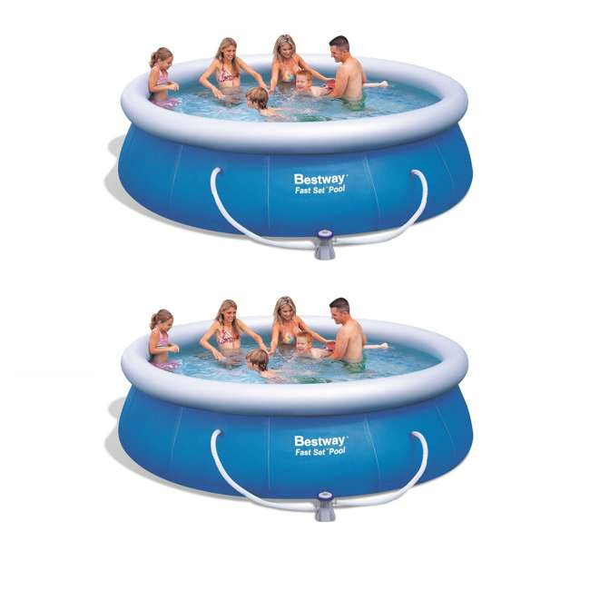 """57278E-BW Bestway 12' x 36"""" Fast Set Inflatable Above Ground Pool w/ Filter Pump (2 Pack)"""