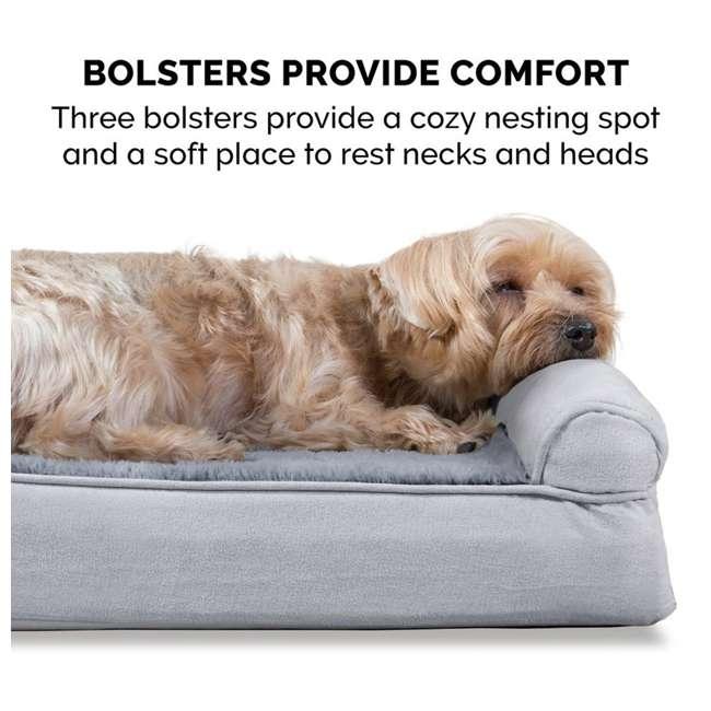 45636087 Furhaven Orthopedic Foam Ultra Plush & Suede Sofa Dog Bed, Gray, Jumbo Plus 6