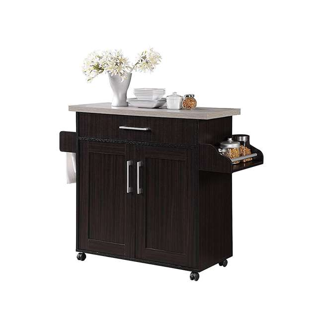 HIK78 CHOC-GREY Hodedah Wheeled Kitchen Island with Spice Rack and Towel Holder, Chocolate Gray