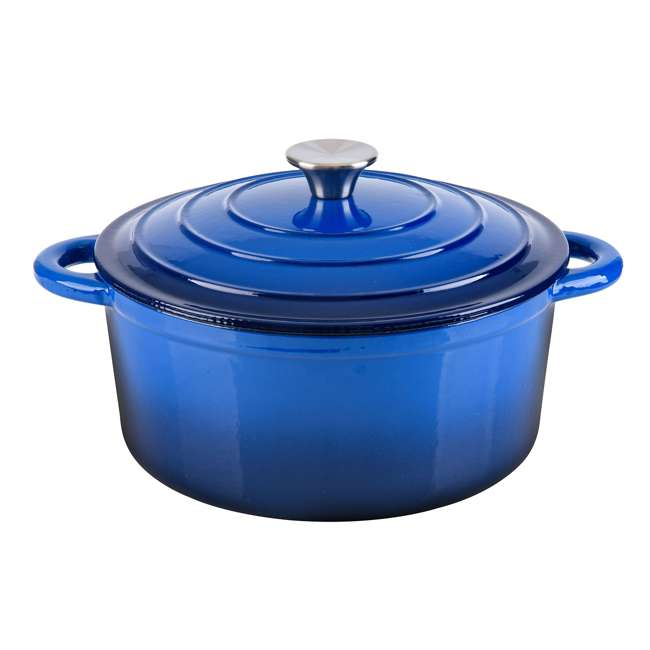HAR101B Hamilton Beach 5.5-Quart Enameled Covered Dutch Oven Pot, Blue