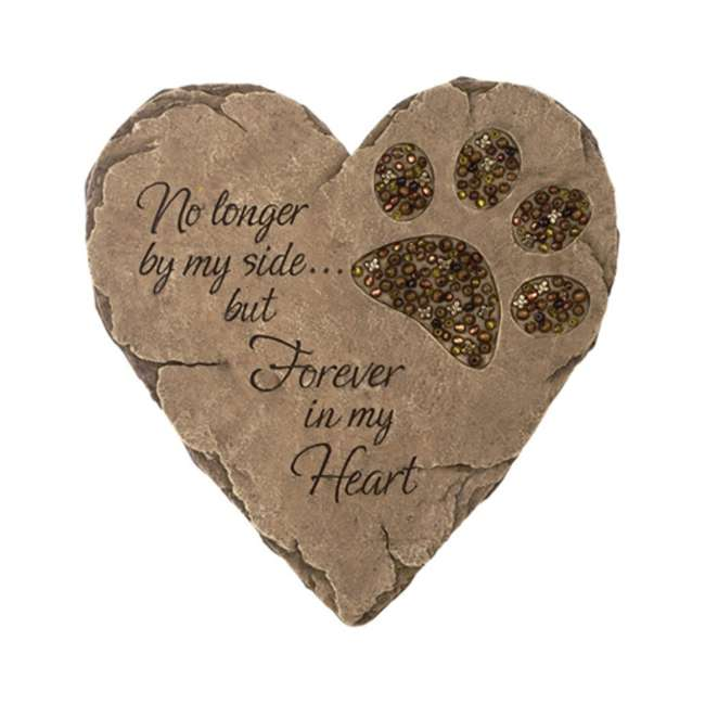 10136 Carson Home Accents 10136 Beadwork Garden Pet Paw Heart Shaped Stepping Stone