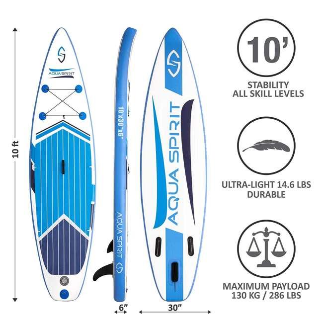 PADDLEBOARD-AQUASPIRIT-10x30x6 Aqua Spirit 10 Foot Inflatable SUP Stand Up Paddle Board Kit with Pump & Paddle 5