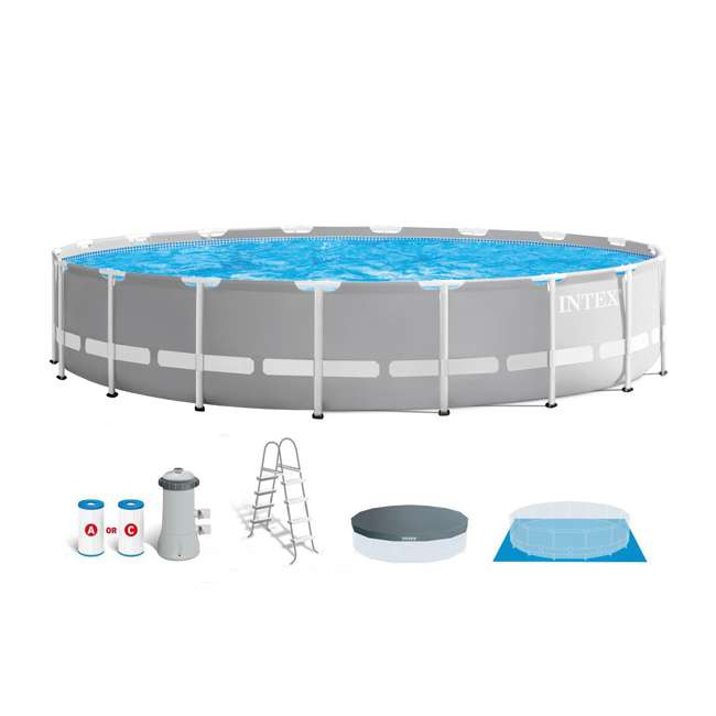 26731EH + 2 x 58868EP + 58821EP Intex Prism Pool w/ Inflatable Loungers and Cooler 1