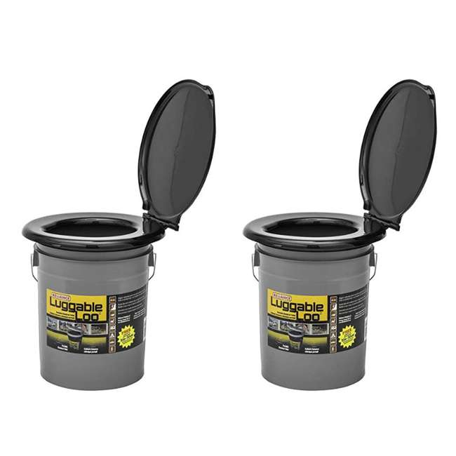 9853-03 Reliance Products Luggable Loo Portable Lightweight 5 Gallon Toilet, Gray (2 Pack)
