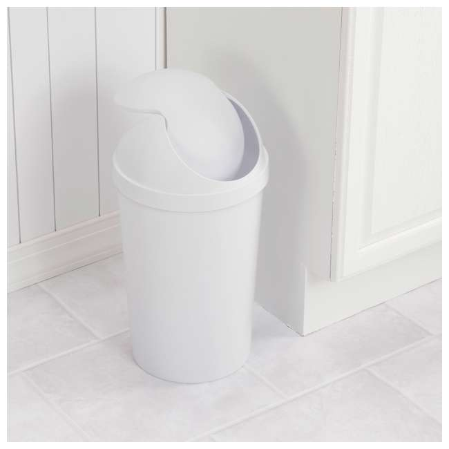12 x 10838006 Sterilite 3 Gallon Round Swing Top Plastic Wastebasket, White, 6 Pack (12 Pack) 2