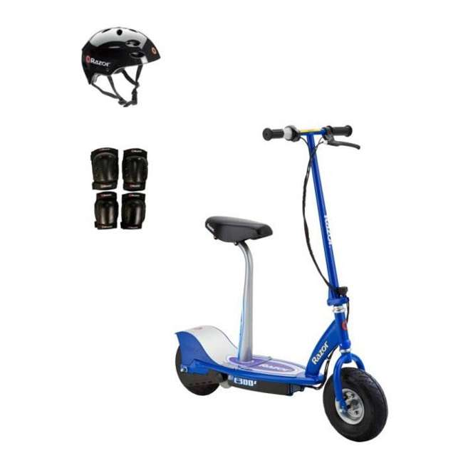 13116240 + 97778 + 96785 Razor E300S Seated Electric Scooter (Blue) with Helmet, Elbow & Knee Pads