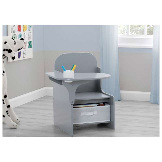 TC83760GN-026 Delta Children MySize Kids Toddler Wooden Chair Desk with Storage Bin, Gray 3