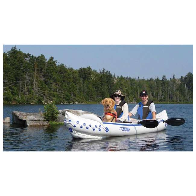 SE370K-PRO Sea Eagle 370 Pro 3 Person Inflatable Portable Sport Kayak Canoe Boat w/ Paddles 1