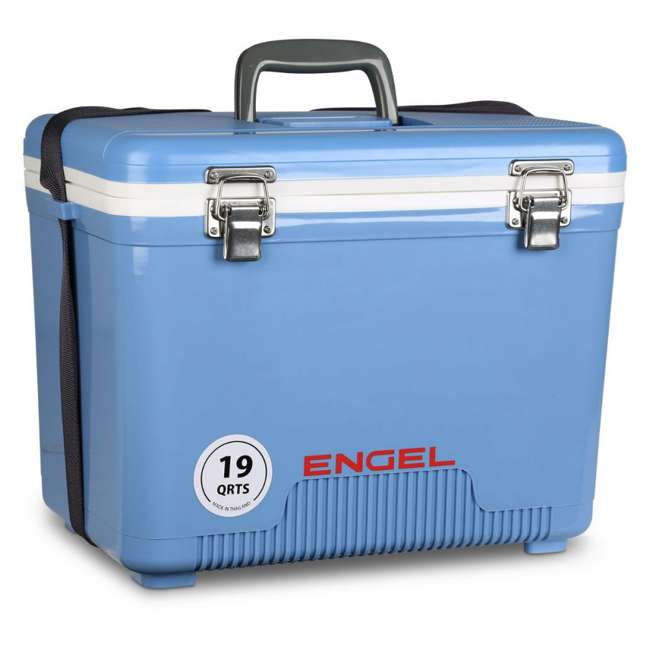 4 x UC19B Engel 19-Quart Dry Box Cooler with Shoulder Strap, Arctic Blue (4 Pack) 2