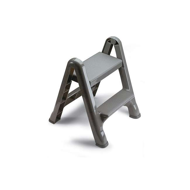 FG420903CYLND Rubbermaid 2 Step Slip Resistant Folding Plastic Stepstool with Foot Pads, Grey 1