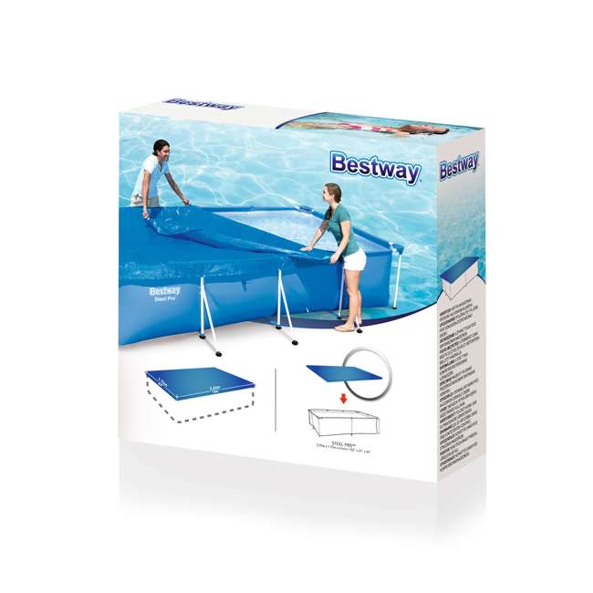 58105-BW-U-A Bestway Flowclear Pro Rectangular Above Ground Swimming Pool Cover (Open Box) 2