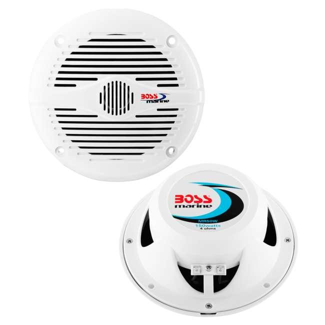 8 x MR50W Boss Audio MR50W 5.25-Inch 2-Way 150W White Marine Speakers  (8 Pack) 1