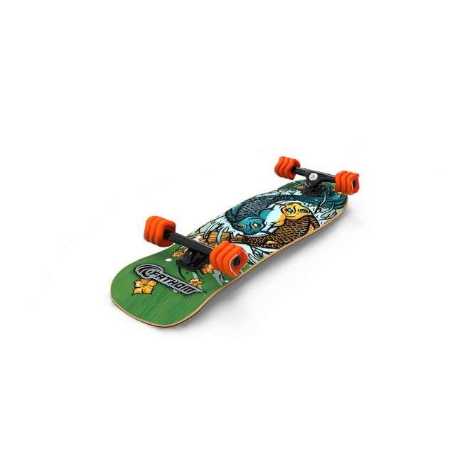 T8-3066 + 08231-SHARK Triple 8 Skate and Bike Helmet, Neon Tangerine + Fathom Shark Wheel Komoyo Cruiser Longboard, Green 9