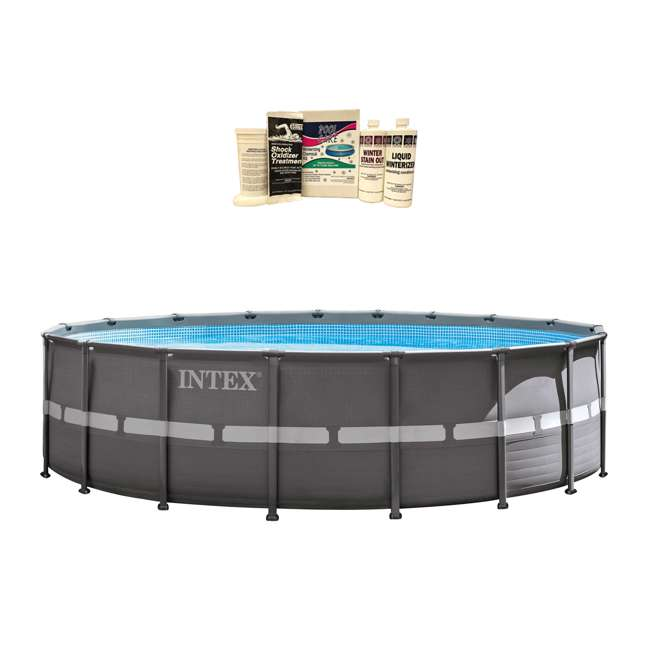 "26335EH + QLC-57610 Intex 18' x 52"" Ultra Frame Pool Set with Pump, Volleyball Set & Winterizing Kit"