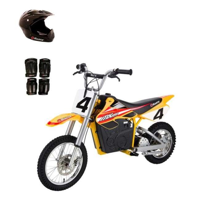 15165070 + 97775 + 96785 Razor MX650 Dirt Rocket Electric Moto Bike with Helmet, Elbow & Knee Pads