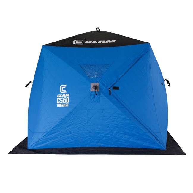 CLAM-14477 Clam 14477 C-560 Thermal 7.5 Foot Pop Up Ice Fishing Angler Hub Shelter, Blue 1