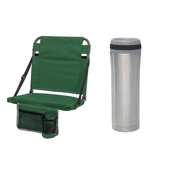 1-1-58811-DS + SL92-T-BK Eastpoint Sports Stadium Seat & Chantal 15 Oz Travel Mug, Green 1