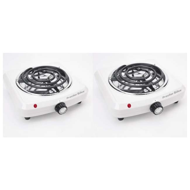 34101P Proctor Silex 34101P Plug in Fifth Burner Elecetric Hot Plate, White | 2 Pack