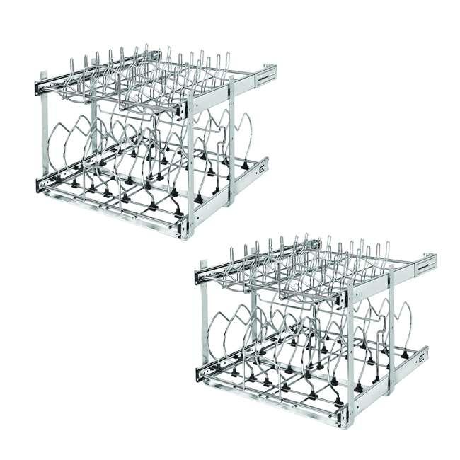 5CW2-2122-CR Rev-A-Shelf 5CW2 Series 21 Inch 2 Tier Wire Organizer for Cookware, Chrome (2 Pack)