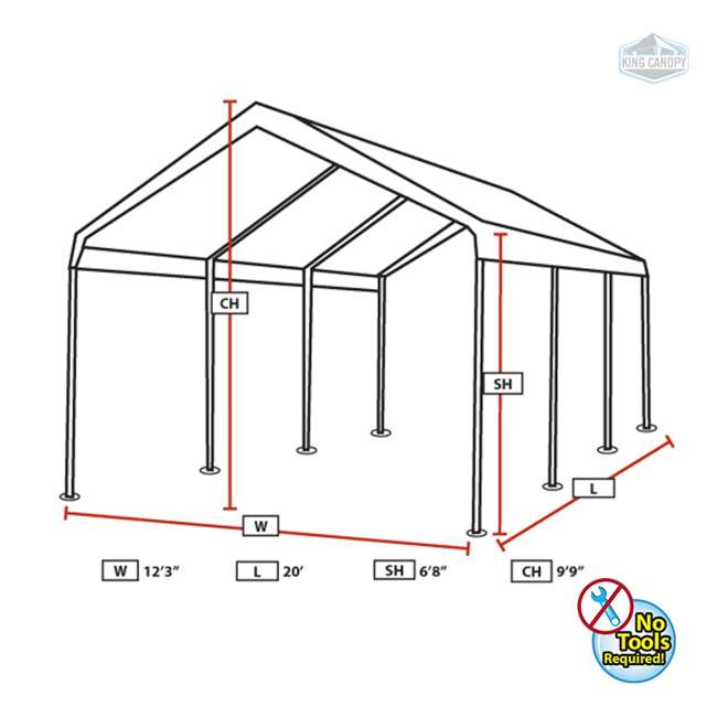 C81220PC King Canopy 12 x 20 Foot Universal Drawstring Canopy 2