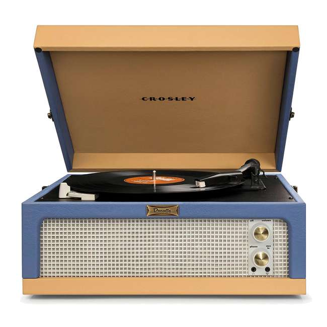 CR6234A-BT Crosley Dansette Junior Vintage-Style Portable Turntable, Blue and Tan 2