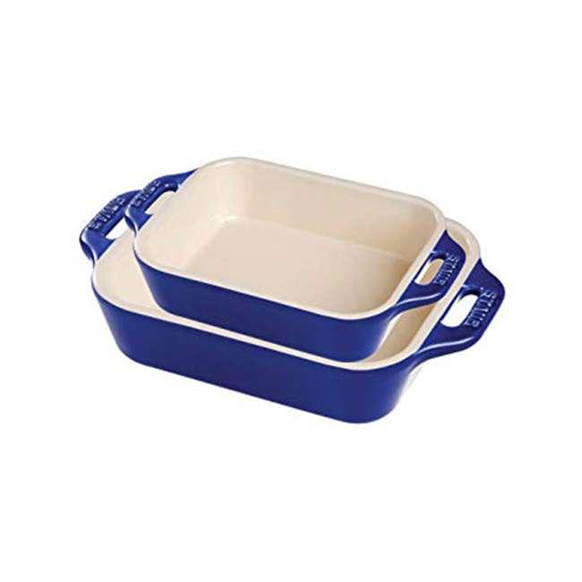 40508-628 Staub Ceramic 2-Piece Rectangular Baking Dish Set, Dark Blue
